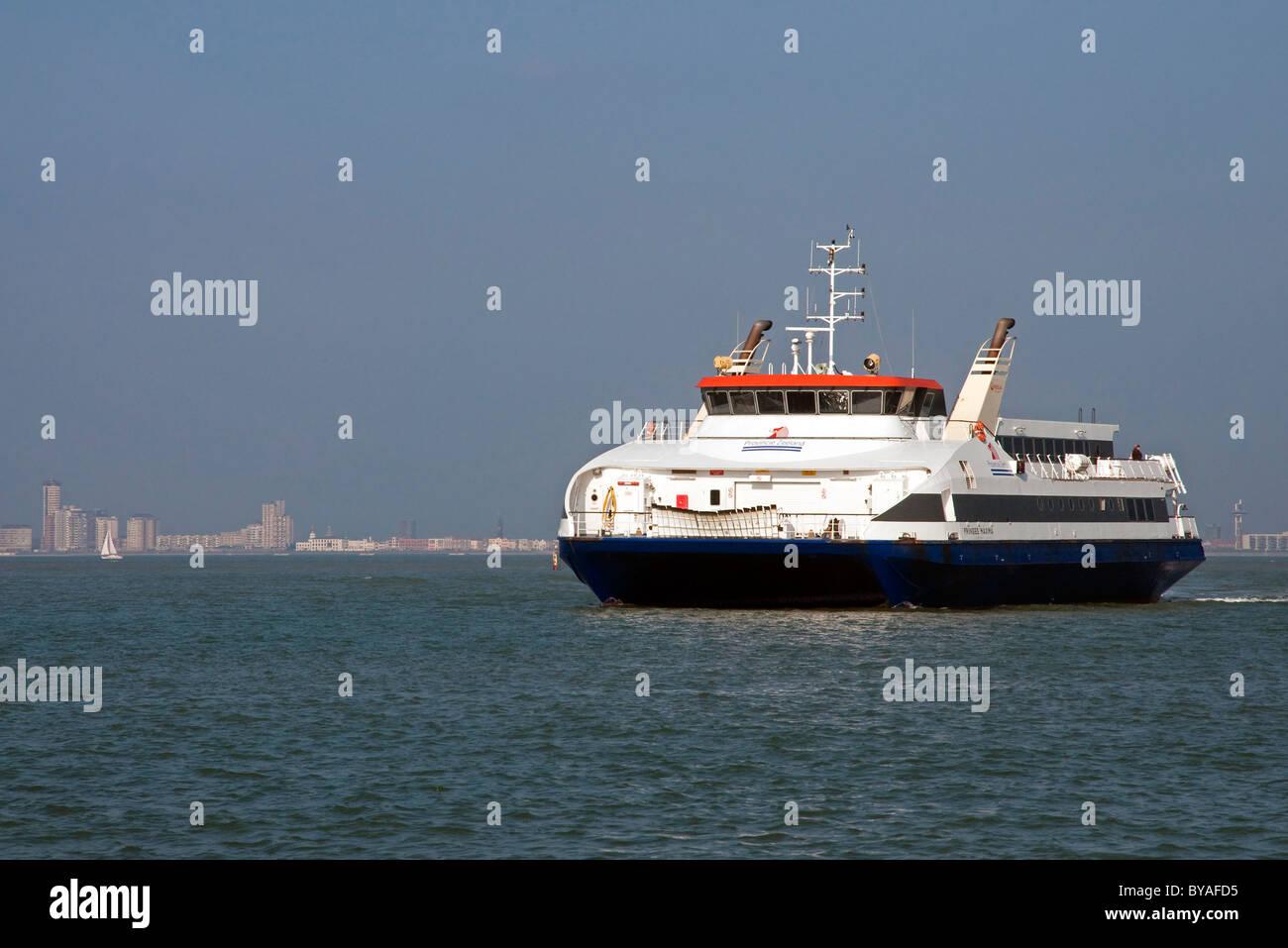 Dutch ferryboat traversing the Western Scheldt between Breskens and Vlissingen, The Netherlands - Stock Image
