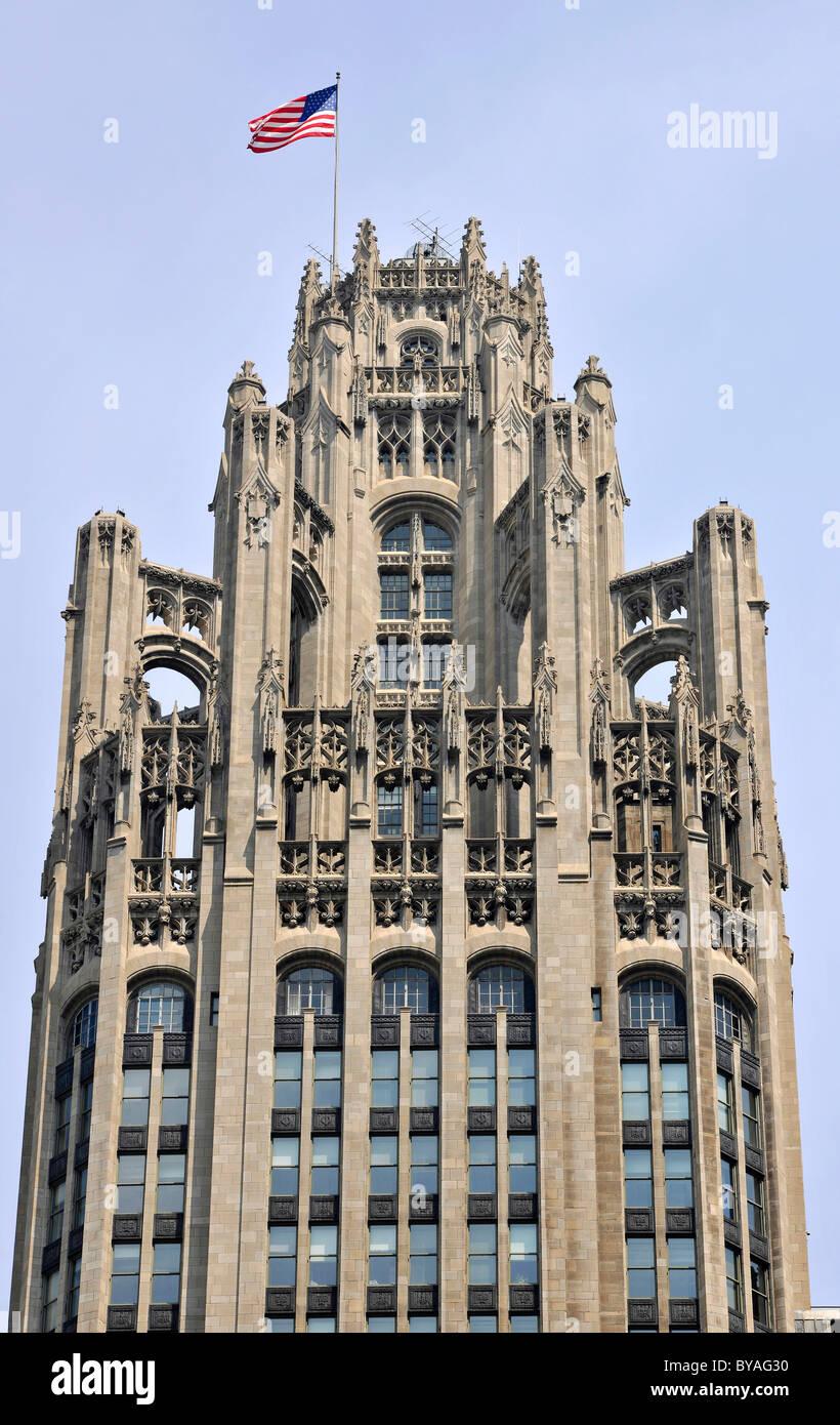 Tribune Tower, Chicago, Illinois, United States of America, USA Stock Photo