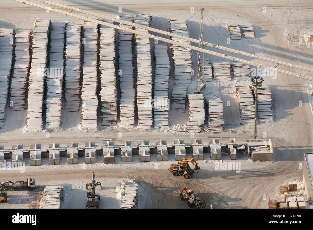 Aerial view, wood piles, sawmill, Egger Holzwerkstoffe Brilon GmbH & Co. KG, Brilon, North Rhine-Westphalia, - Stock Image