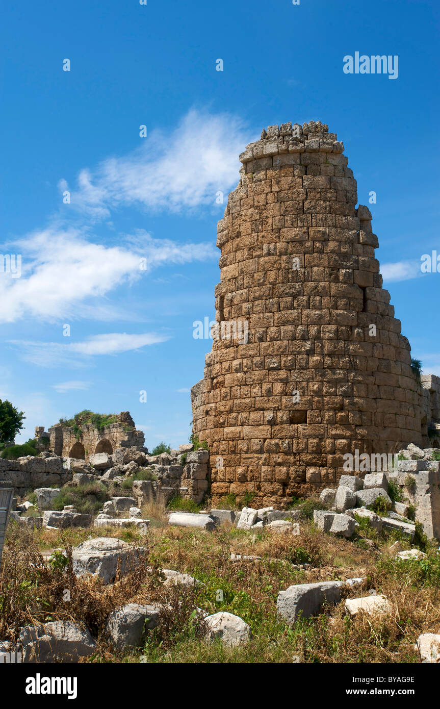 Perge, Hellenistic Round Tower, Antalya, Turkish Riviera, Turkey - Stock Image
