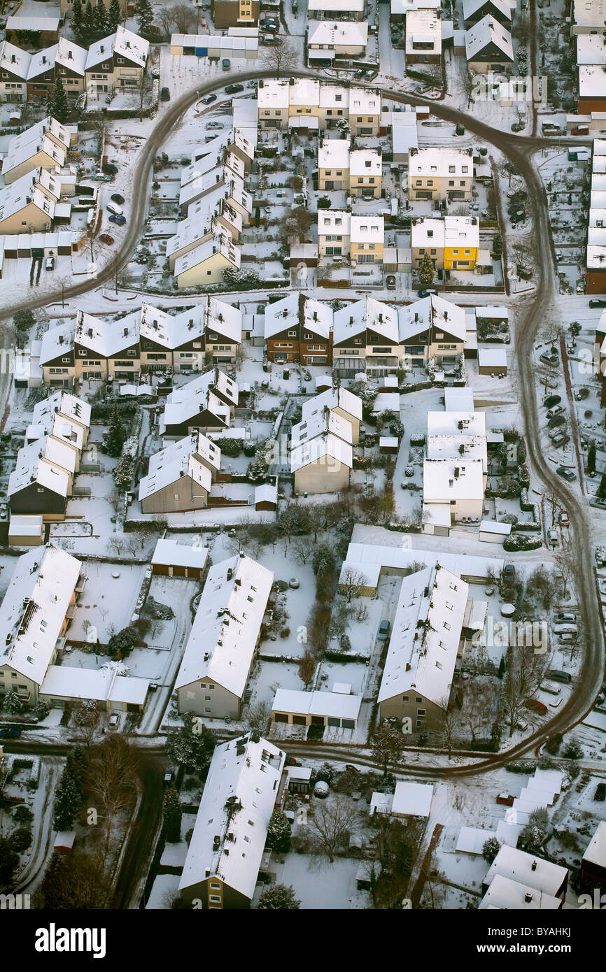 Aerial view, lack of winter maintenance in residential area, snow, Am Schichtmeister, Annen, Witten, Ruhr Area - Stock Image