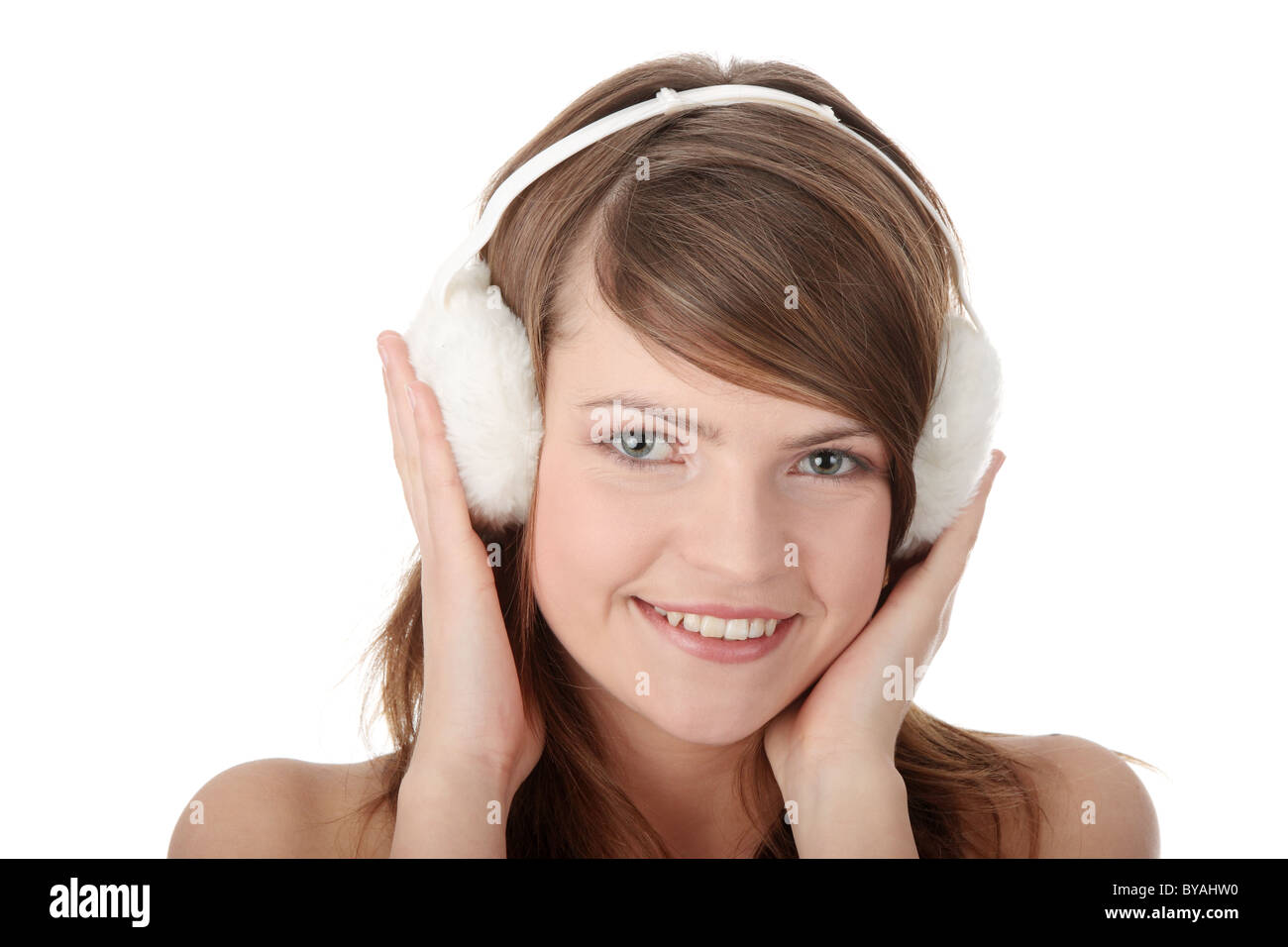 9069ee0e11 Cold Woman Wearing Ear Muffs Stock Photos   Cold Woman Wearing Ear ...