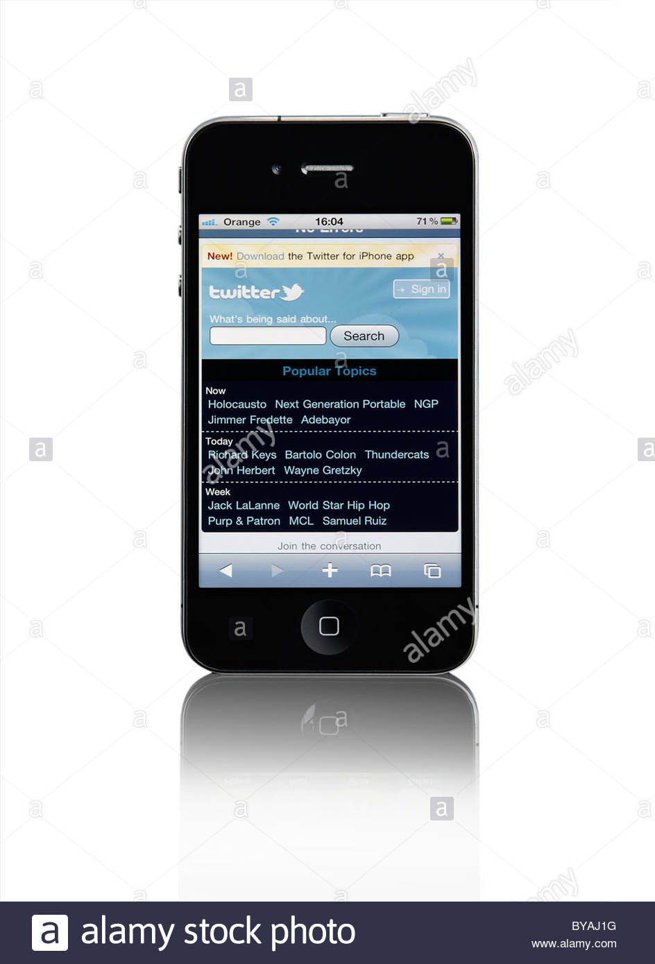 Apple iPhone 4 3G mobile phone with Twitter Website touch