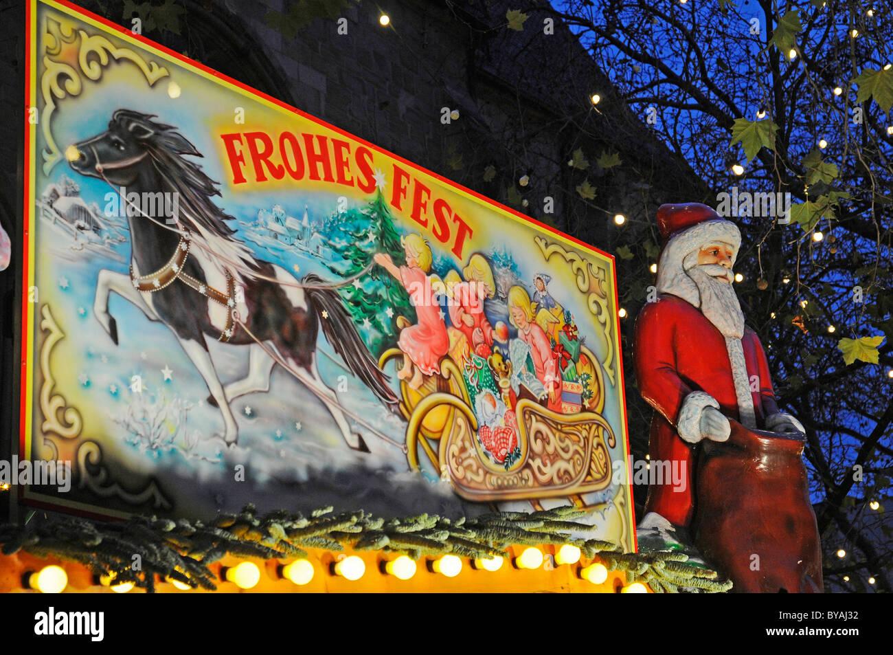 Frohes Fest or happy holidays, sign on the Christmas market, Dortmund, Ruhrgebiet region, North Rhine-Westphalia - Stock Image