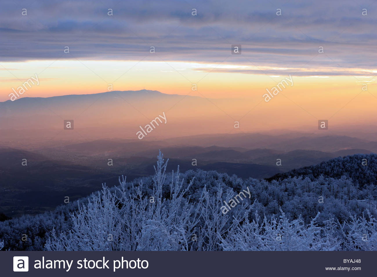 View on the mountain Medvednica from the peak of mountain Ivancica. - Stock Image