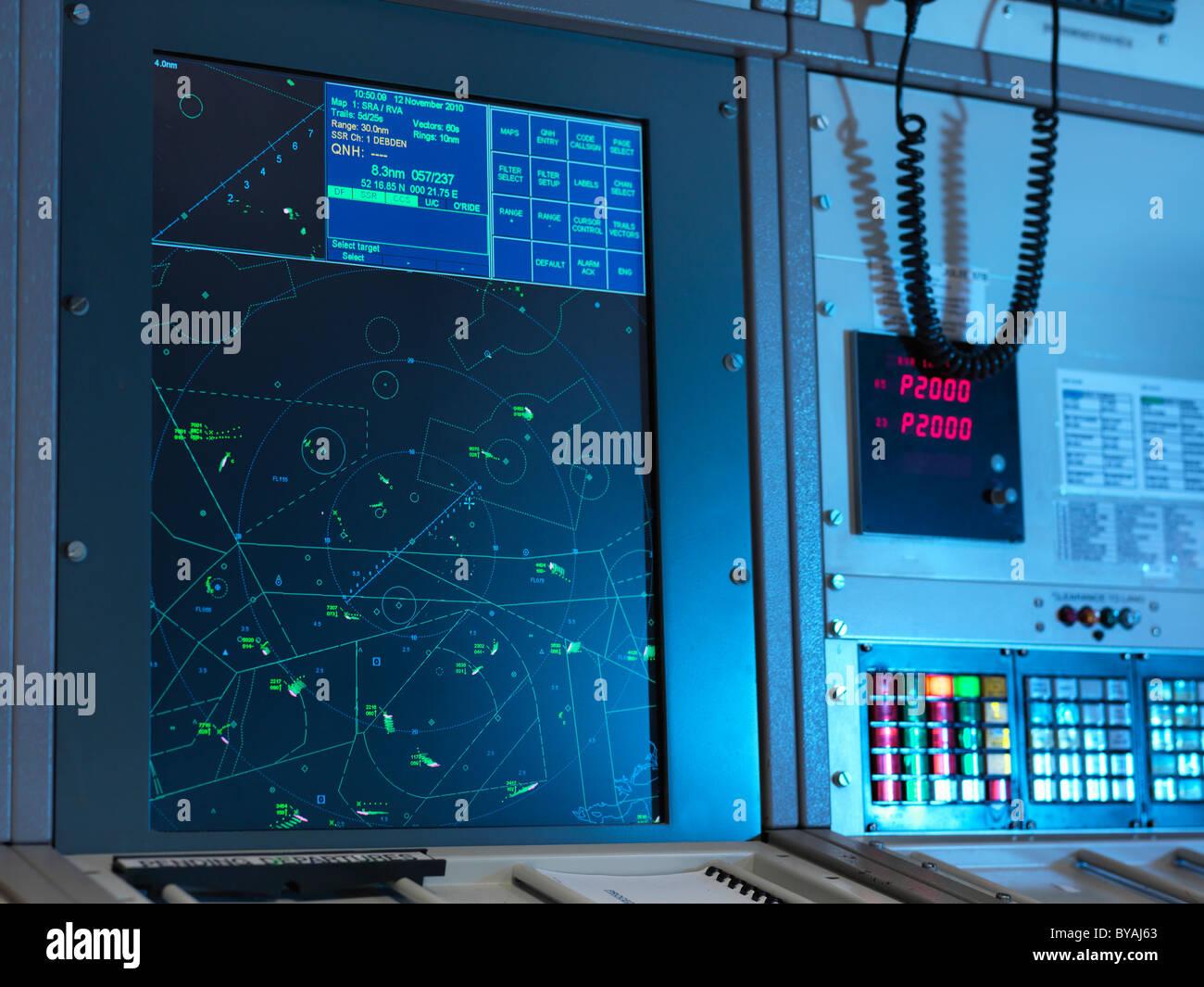 Radar desk in control room - Stock Image