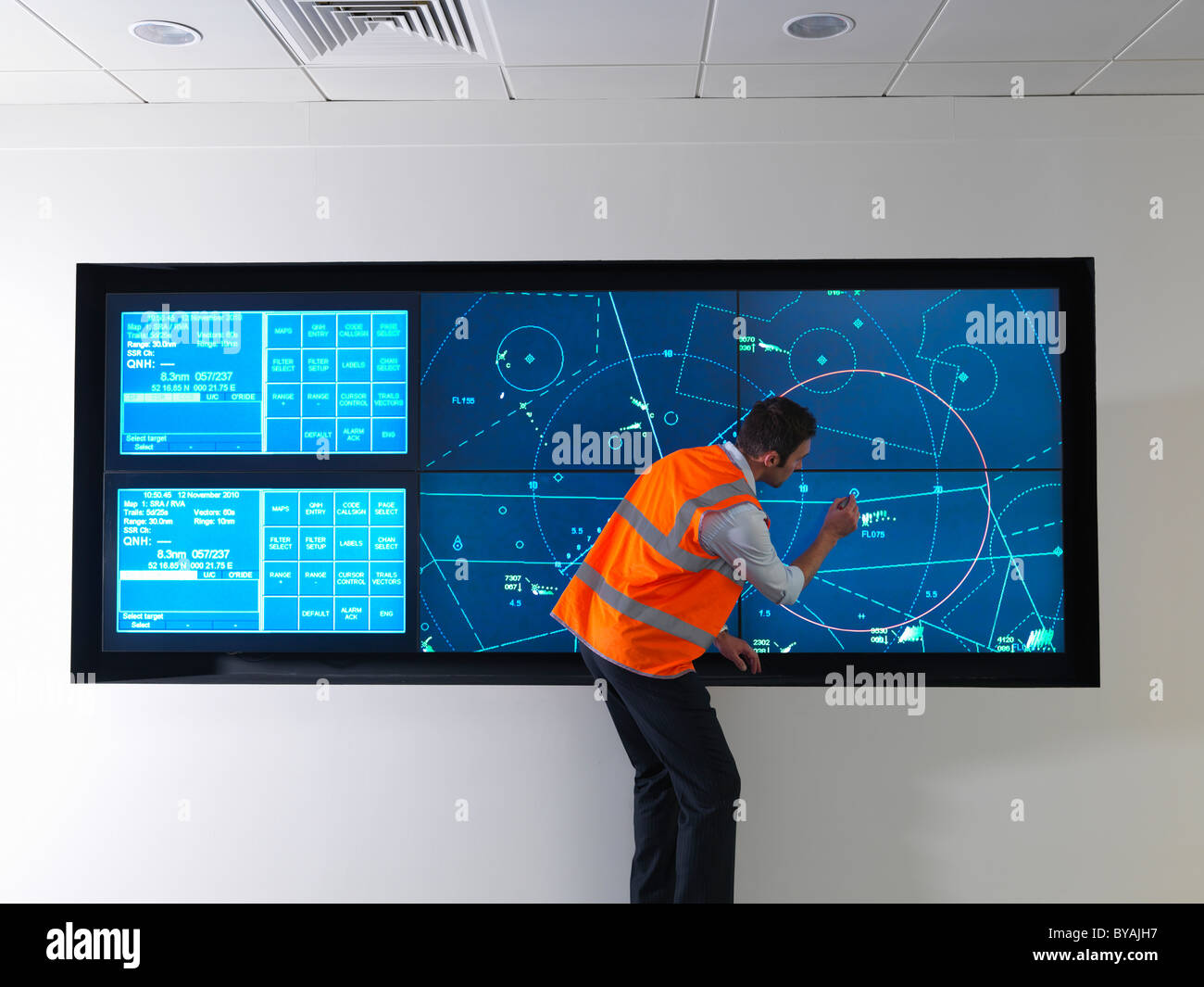 Air traffic controller with simulation - Stock Image