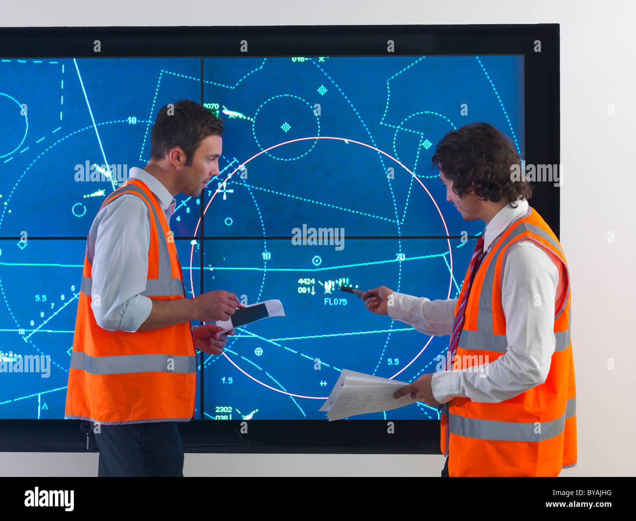 Air traffic controllers with simulation - Stock Image