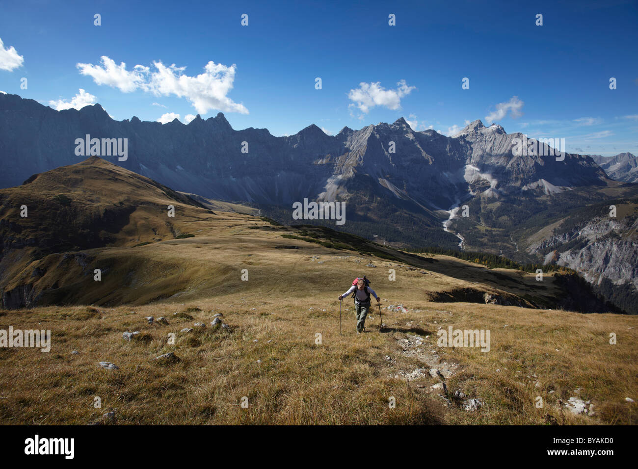 Man walking in the Mountains Stock Photo