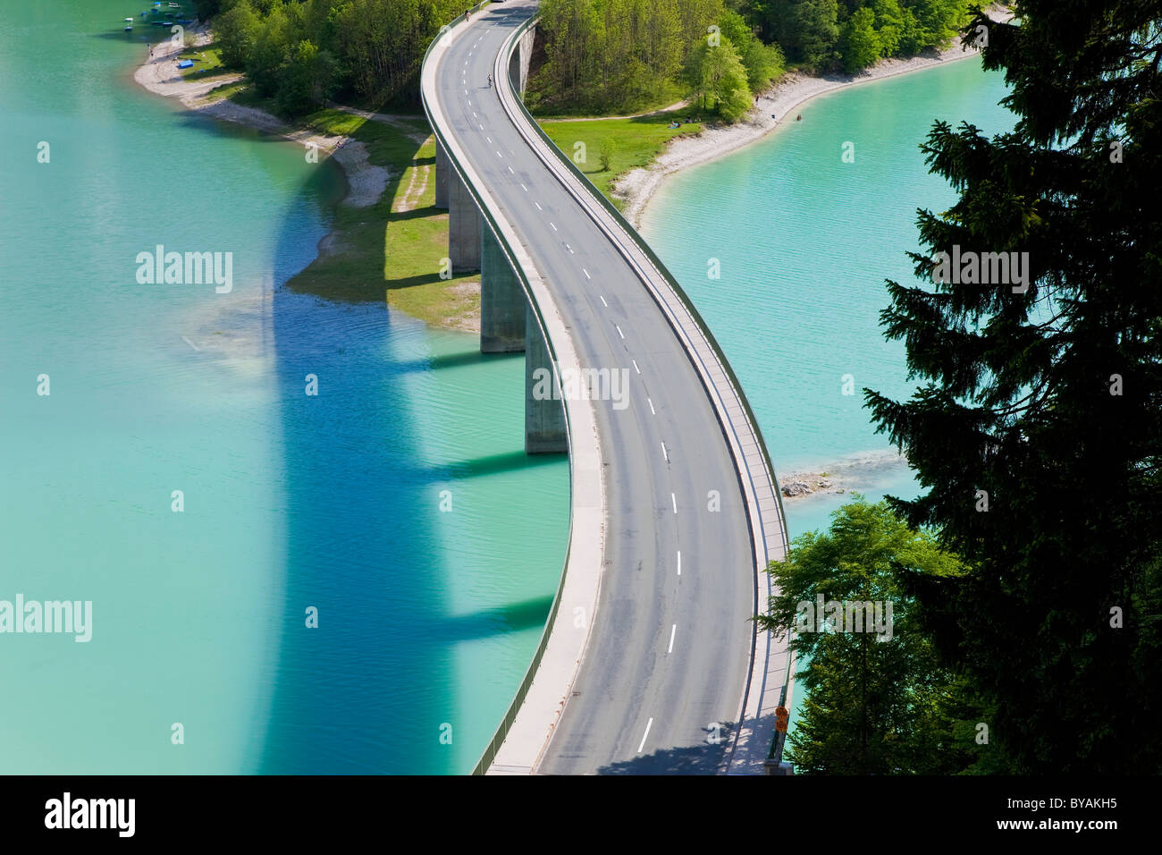 Sylvenstein Lake and Bridge Bavarian Alps Bavaria Germany - Stock Image