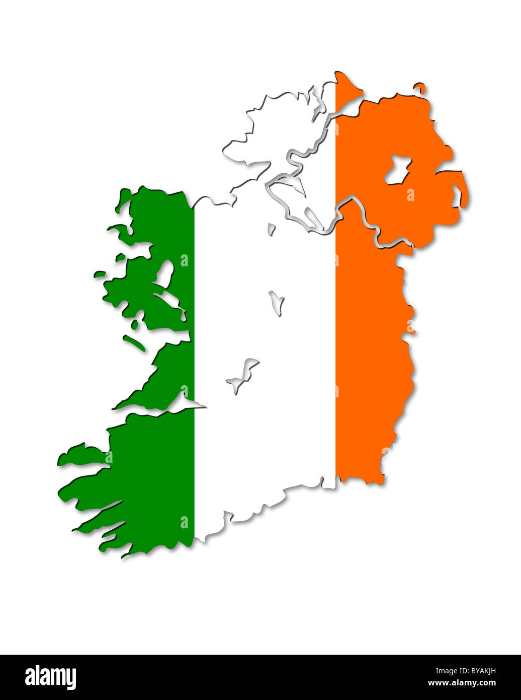 Illustrative map of Ireland with it's flag over it. - Stock Image
