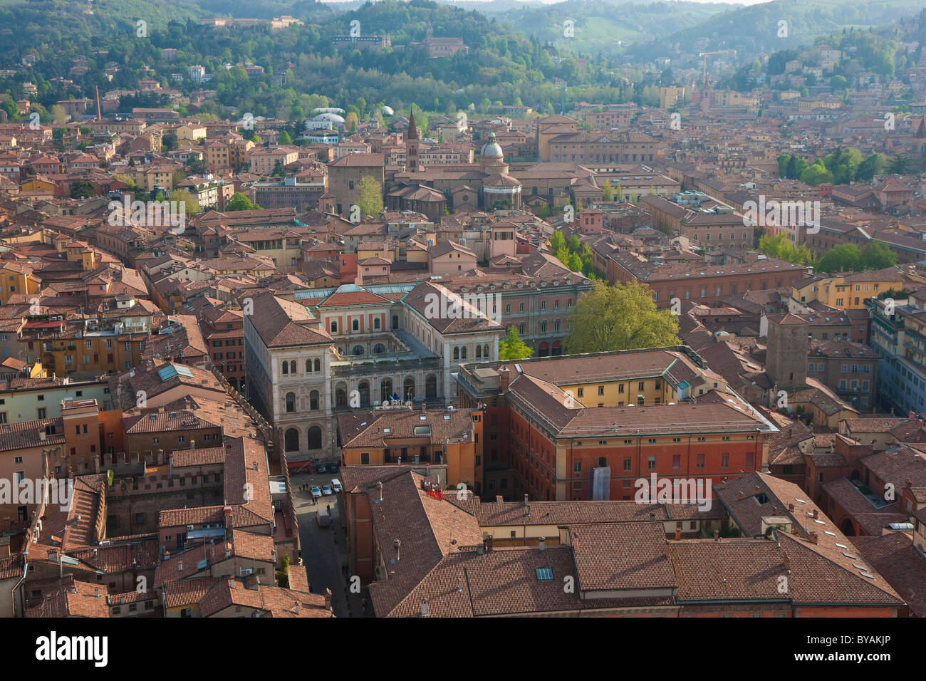 View of rooftops, Bologna, Emilia Romagna, Italy - Stock Image
