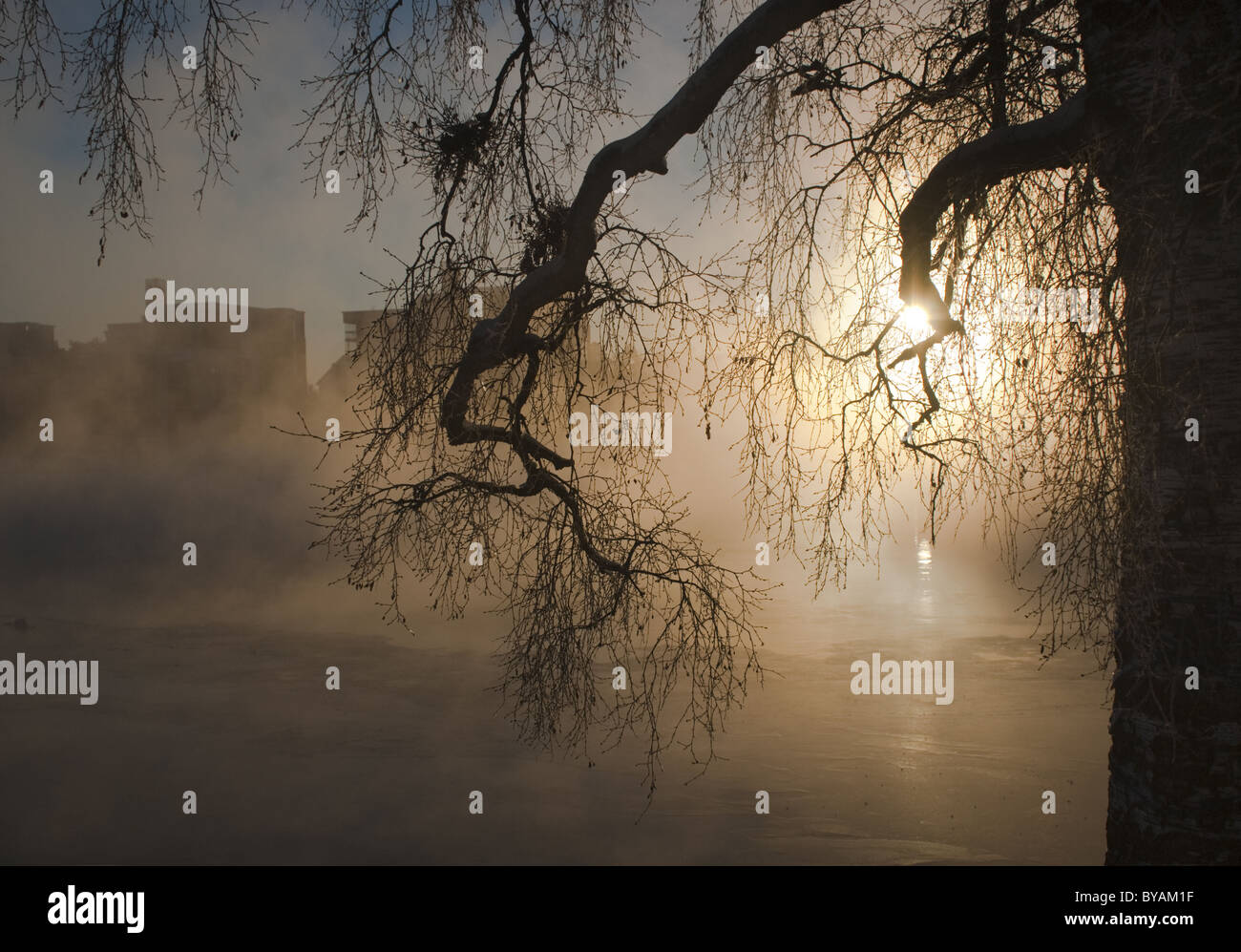 Mist rising from the river Oulu in a cold winter day in Oulu, Finland Stock Photo