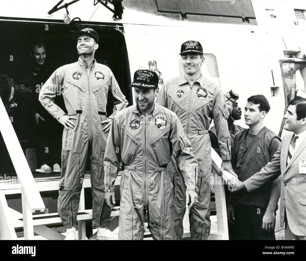 Apollo 13 Fred. W. Haise, James A. Lovell Jr. and John L. Swigert Jr. after their return to Earth. - Stock Image