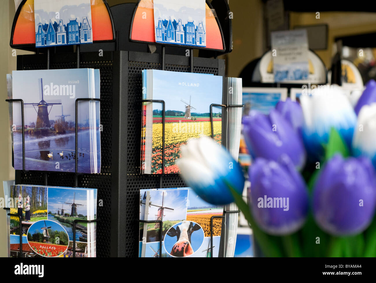 Postcards on sale outside a shop in Delft in the Netherlands - Stock Image