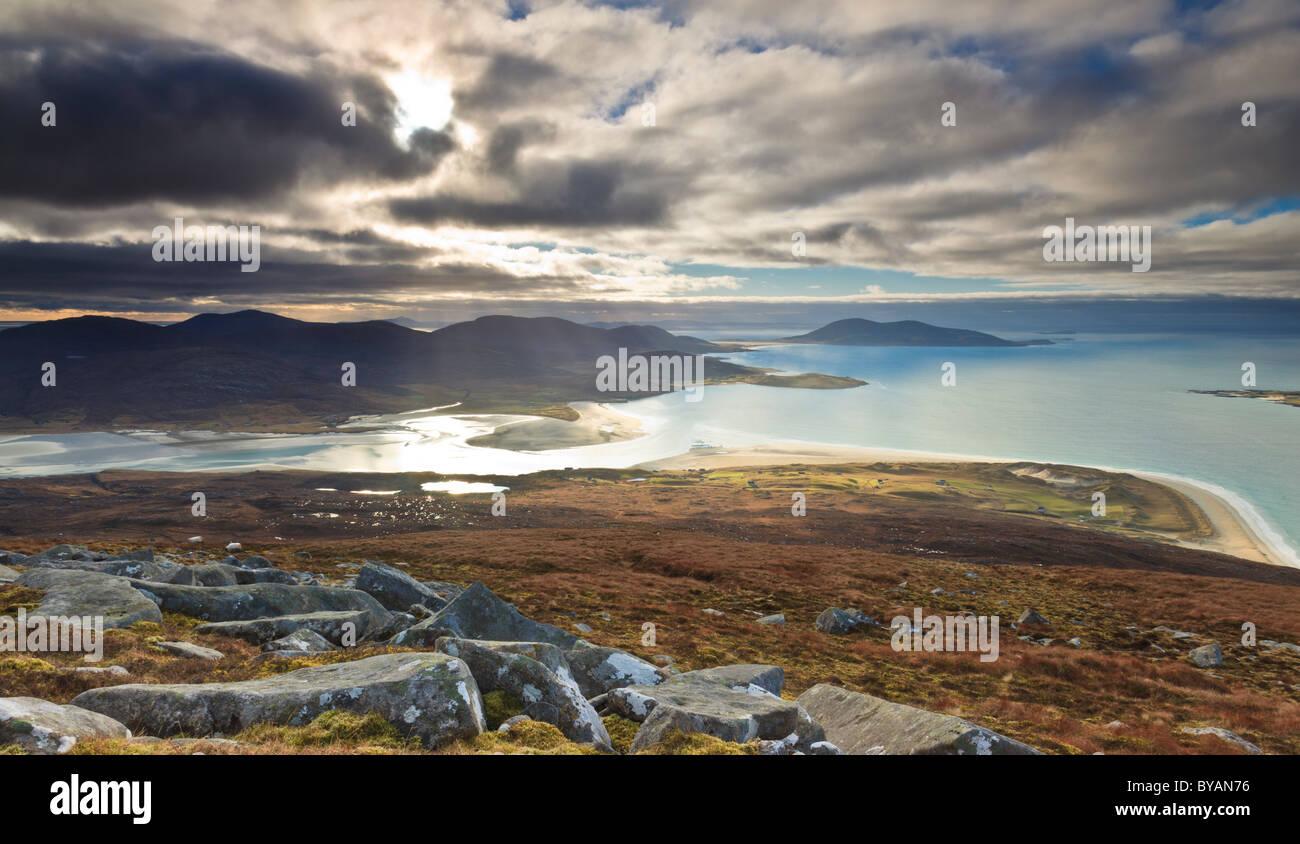Luskentyre estuary seen from Ben Dubh - Stock Image