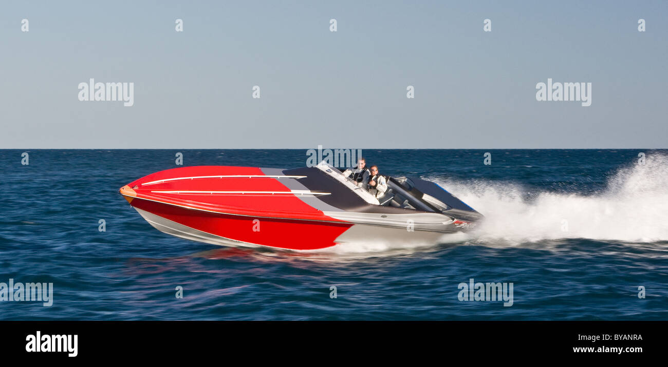 Powerboat racing at high speed - Stock Image