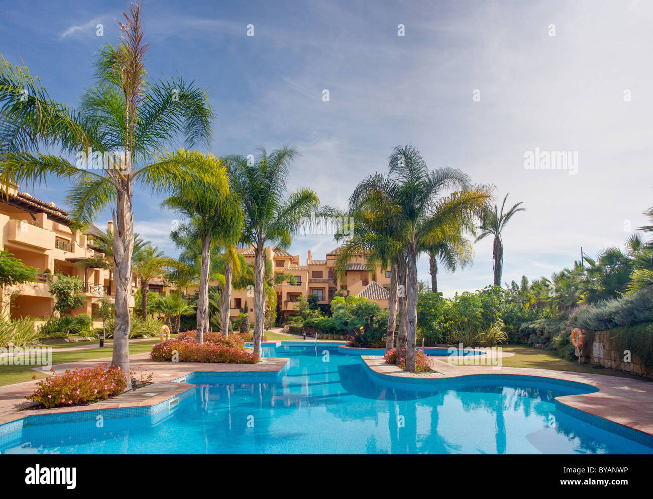 Luxury apartments and pool in Spain - Stock Image