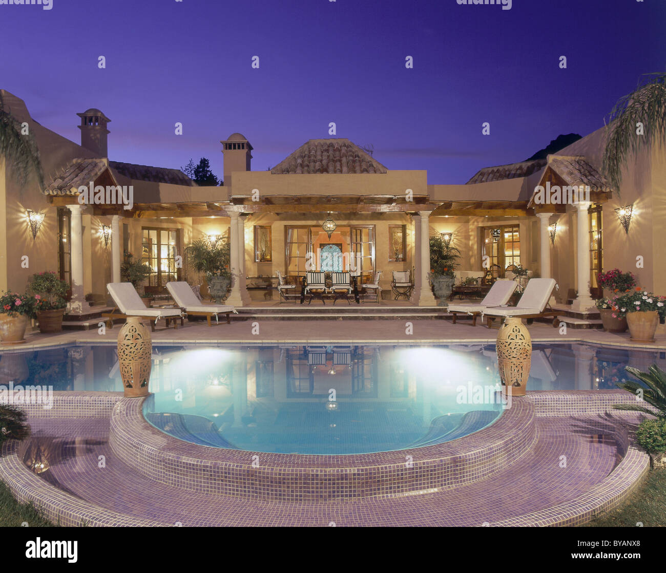 Beautiful villa with pool in Spain - Stock Image