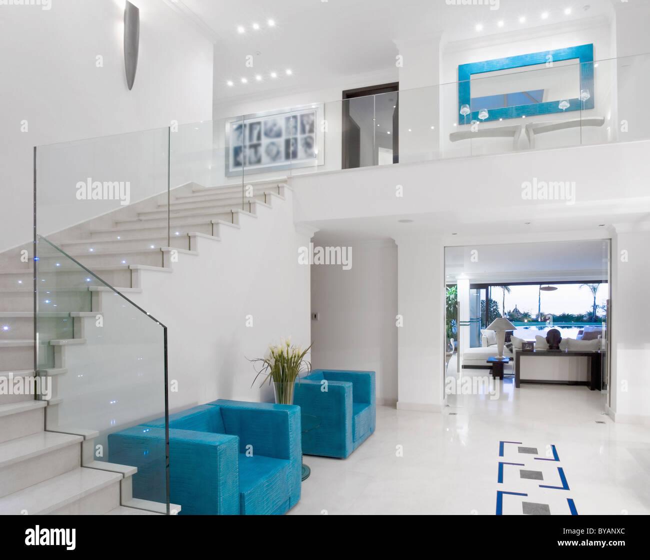 Beautiful staircase in luxury villa - Stock Image