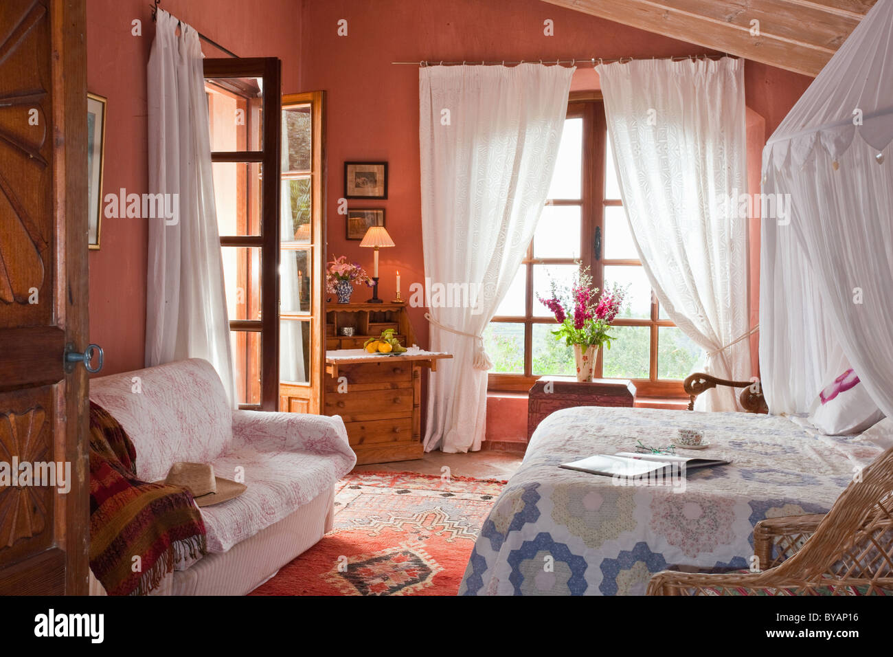 Beautiful bedroom in villa in Spain - Stock Image