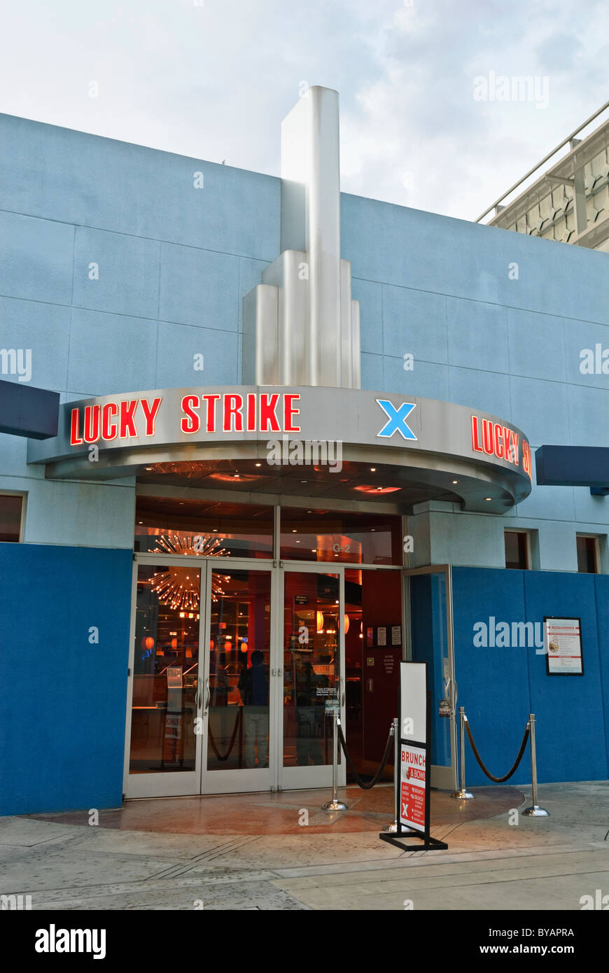 Lucky Strike is an upscale bowling alley with lane-side food service and lounges also available for private parties. - Stock Image