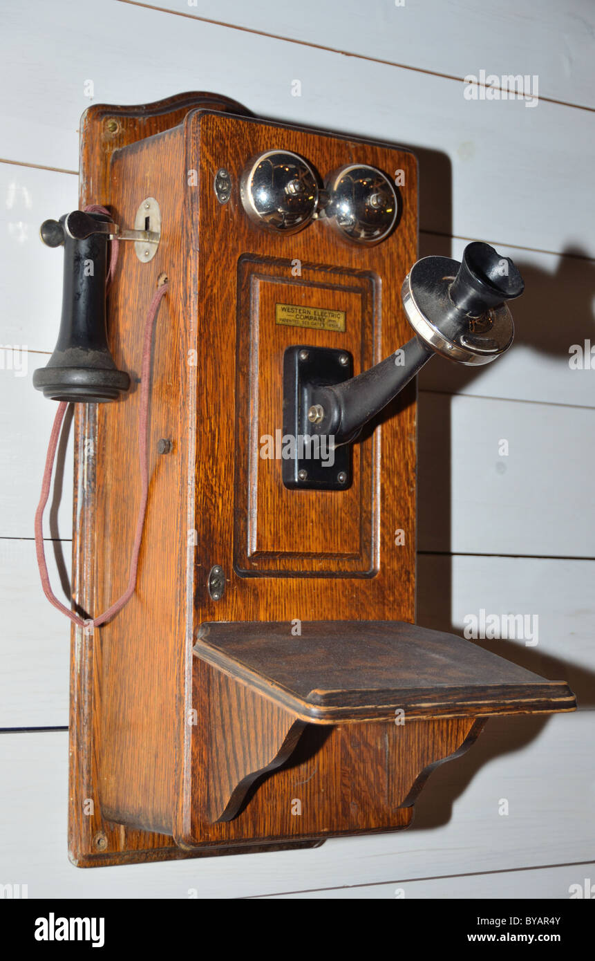 An old telephone with wooden box. Museum of Rockies, Bozeman, Montana, USA. Stock Photo