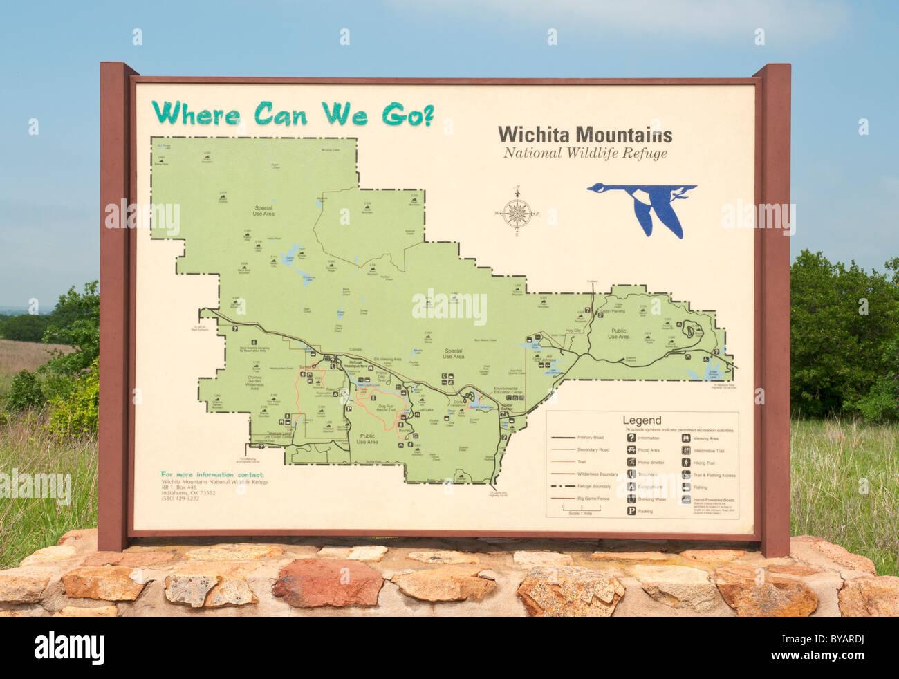 Mountains In Oklahoma Map.Oklahoma Wichita Mountains National Wildlife Refuge Map Sign Stock