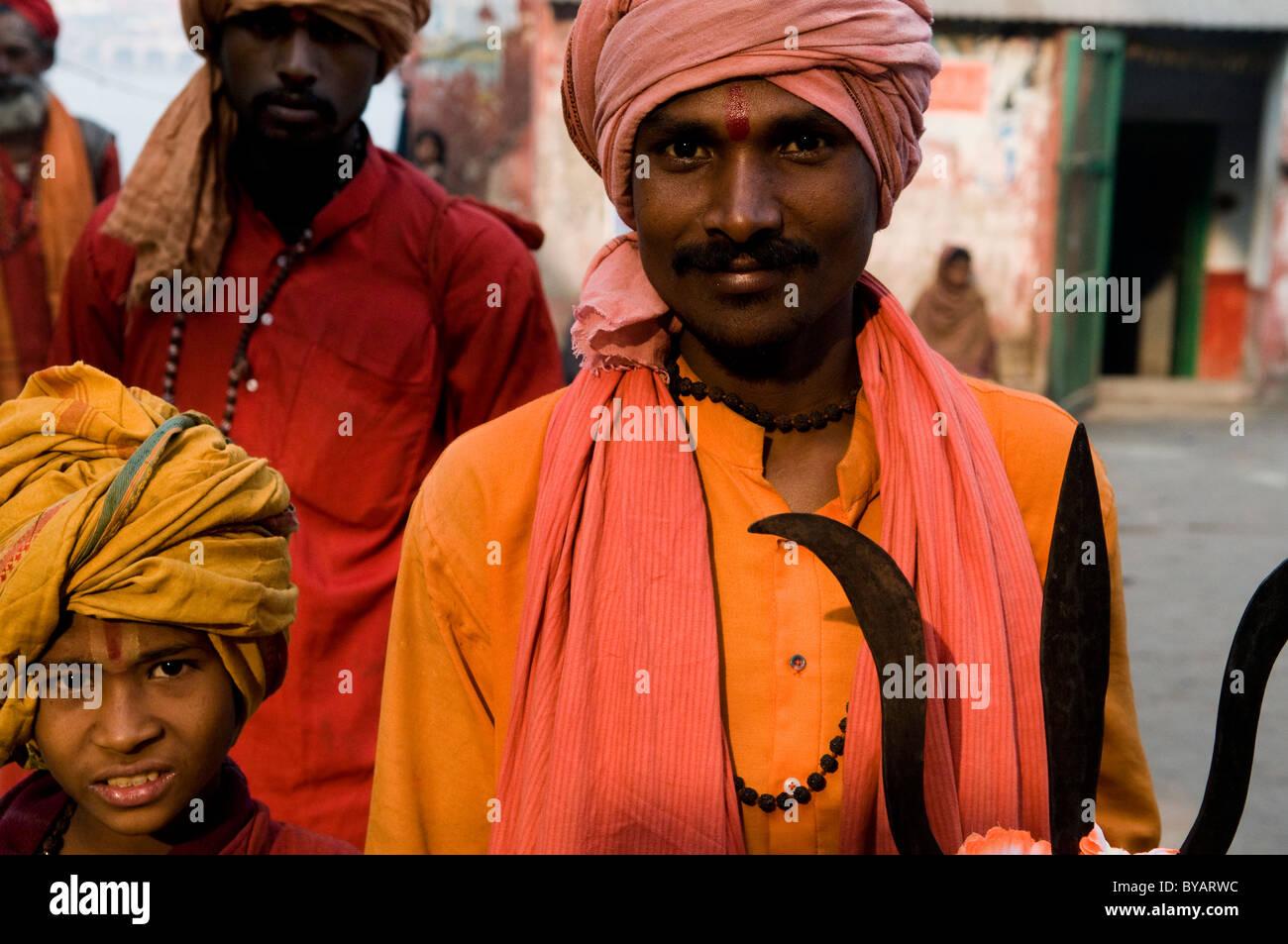 Colorful Indian sadhus. - Stock Image