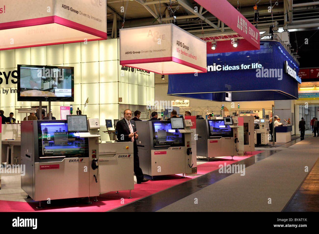 Trade fair booths, ASYS and Panasonic, Productronica, Trade Fair for Innovative Electronics Production, Messe Munich, - Stock Image