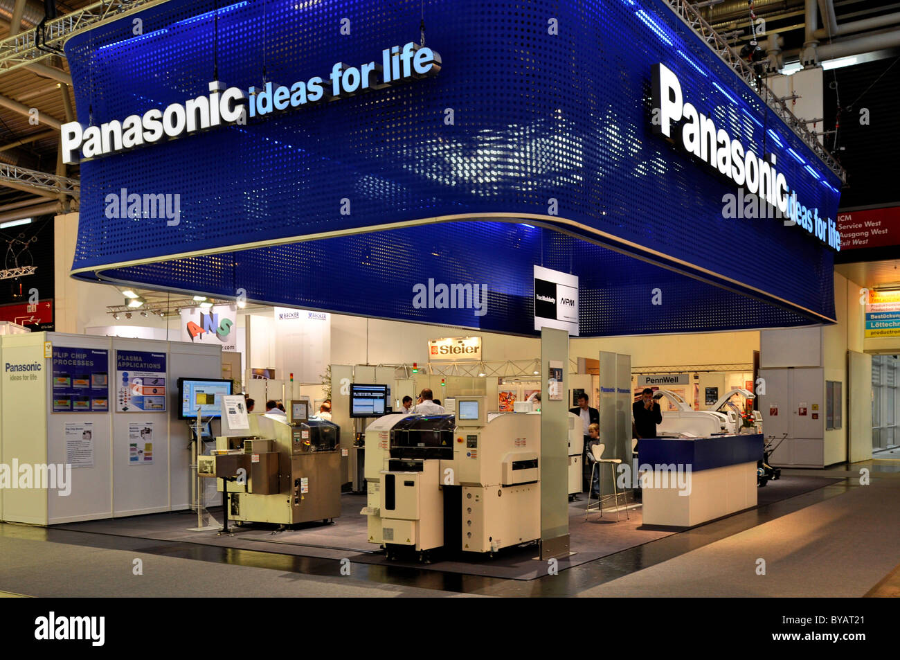 Trade fair booth, Panasonic, Productronica, Trade Fair for Innovative Electronics Production, Messe Munich, Bavaria - Stock Image
