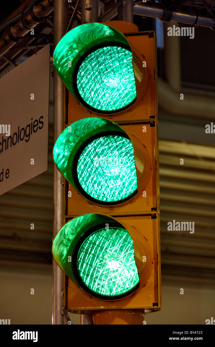 Triple green traffic light, Productronica, Trade Fair for Innovative Electronics Production, Messe Munich, Bavaria - Stock Image