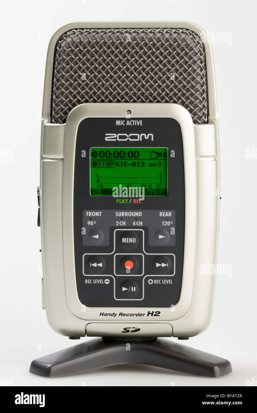 Mobile digital recorder placed on a tripod - Stock Image