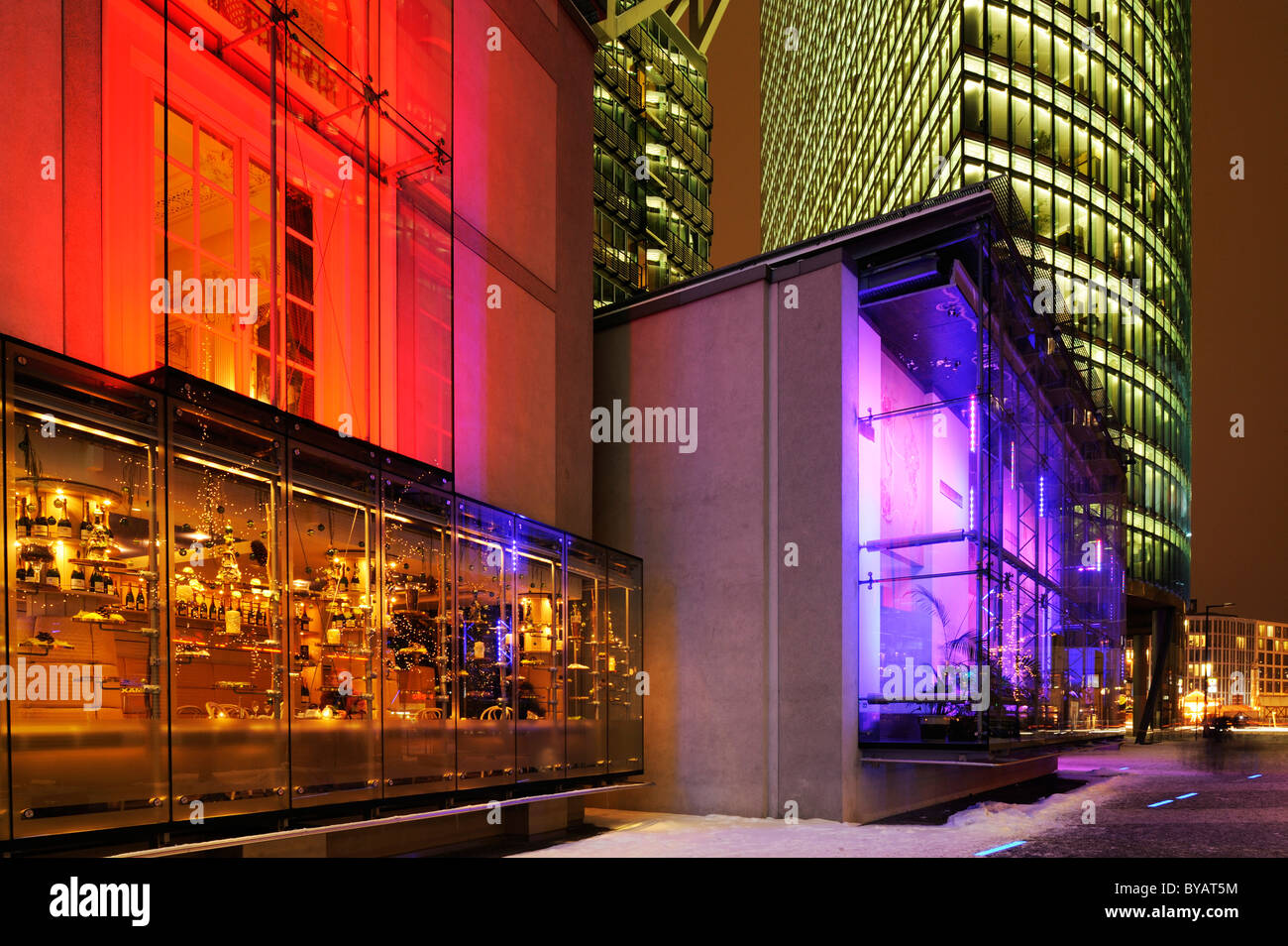 Installation of a Baroque facade in the Sony Center with Bahntower skyscraper, Potsdamer Platz, Berlin, Germany, - Stock Image