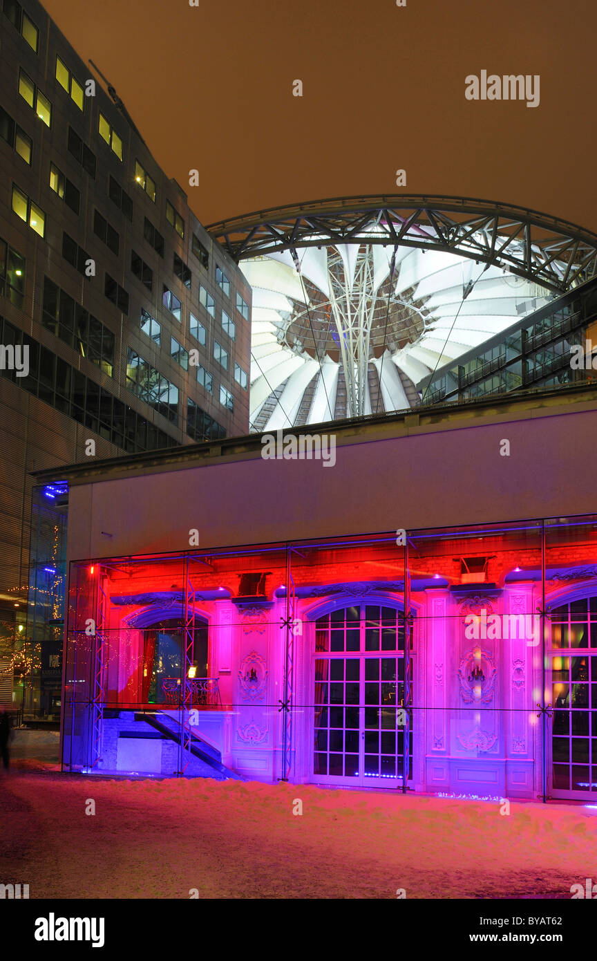 Building complex of the Sony Center at dusk with colorful illumination, Potsdamer Platz, Berlin, Germany, Europe - Stock Image