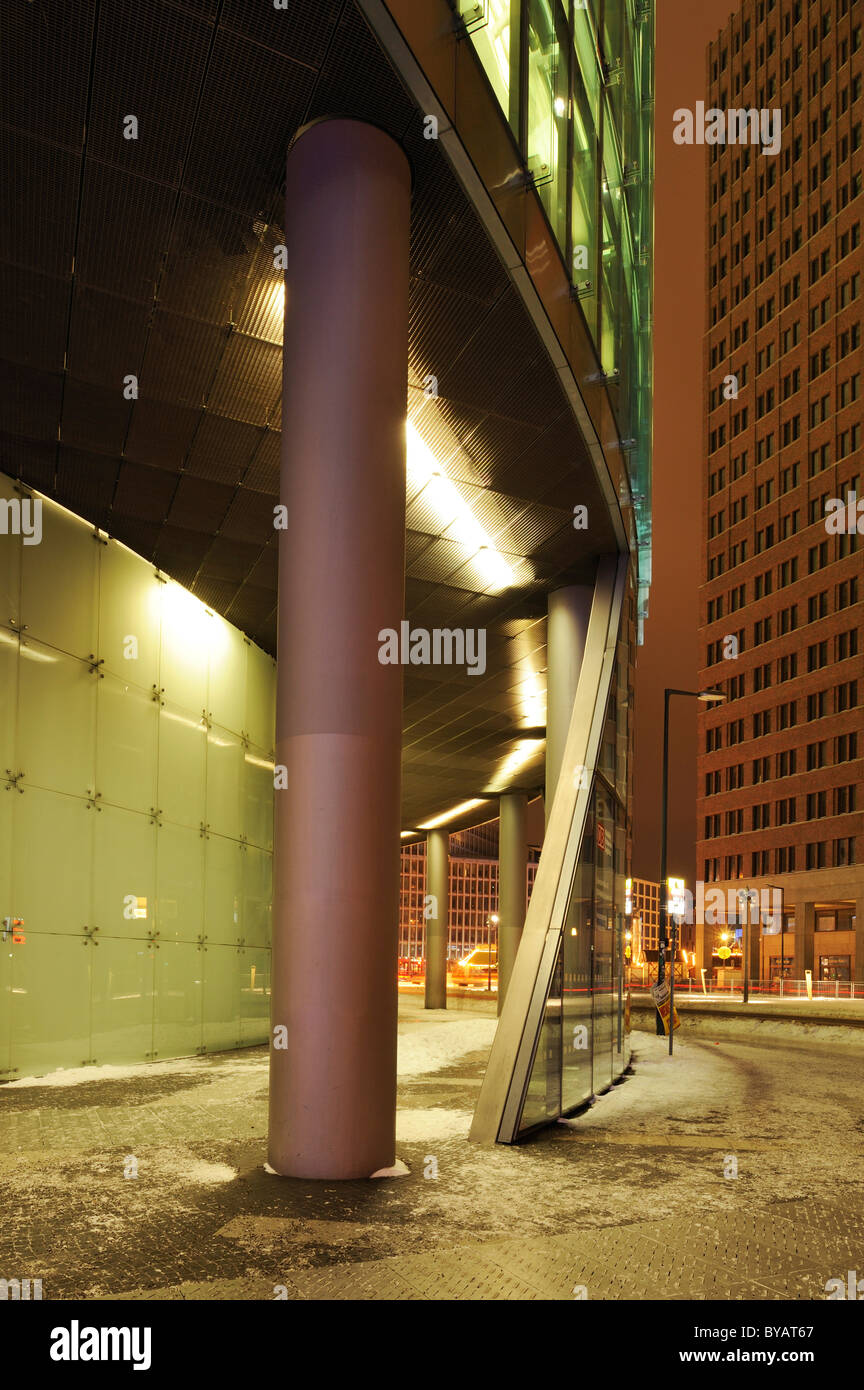 DB Tower and Kollhoff-Tower in the back, Potsdamer Platz, Berlin, Germany, Europe - Stock Image