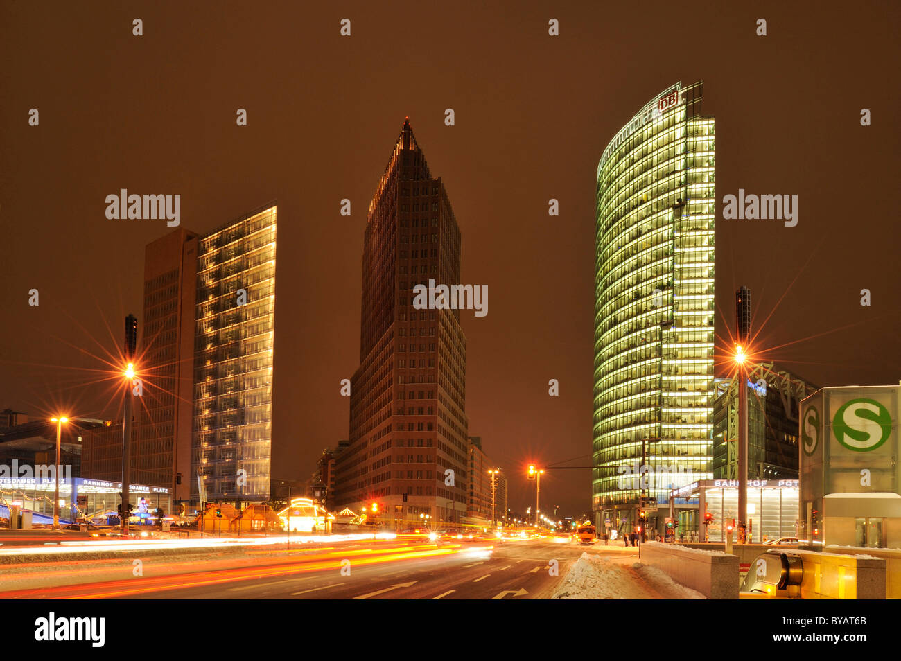 Skyscrapers on Potsdamer Platz, Chrysler Building, Sony Center, DB Tower and Beisheim Center with Ritz Carlton Hotel - Stock Image