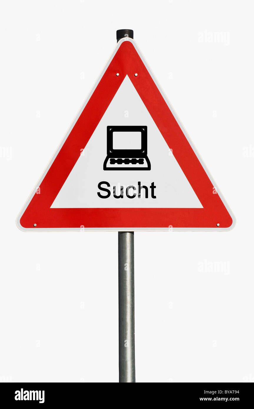 Danger sign with a laptop, computer, addiction - Stock Image