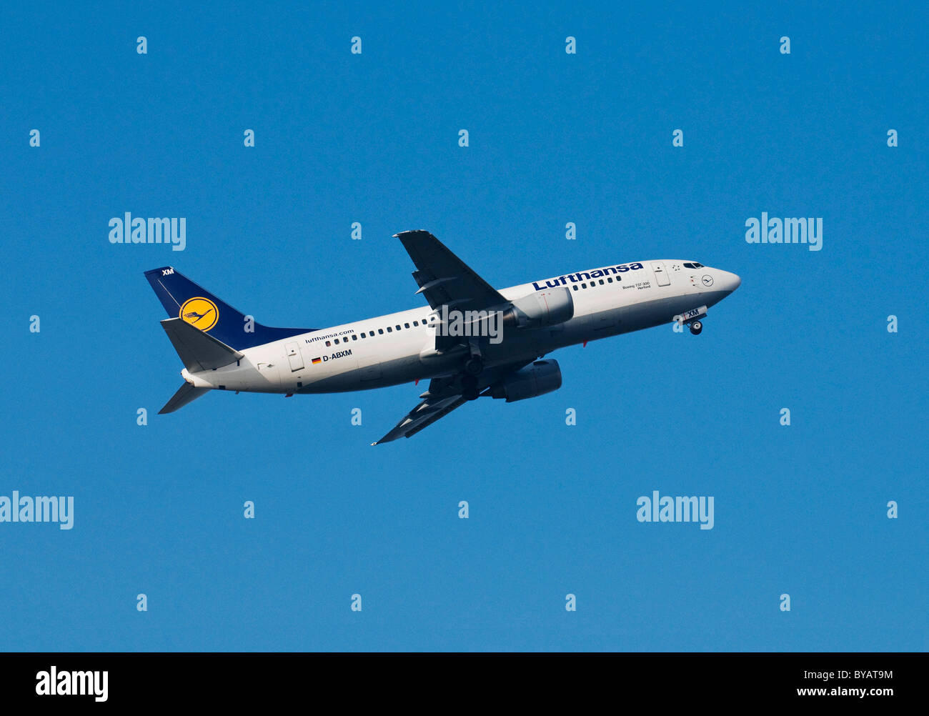 Aircraft of Lufthansa airline, Boeing 737-300, plane named Herford, climbing - Stock Image