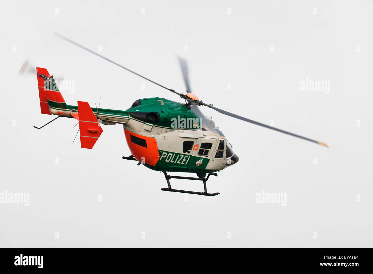 North Rhine-Westphalia police helicopter flying a curve, Germany, Europe - Stock Image