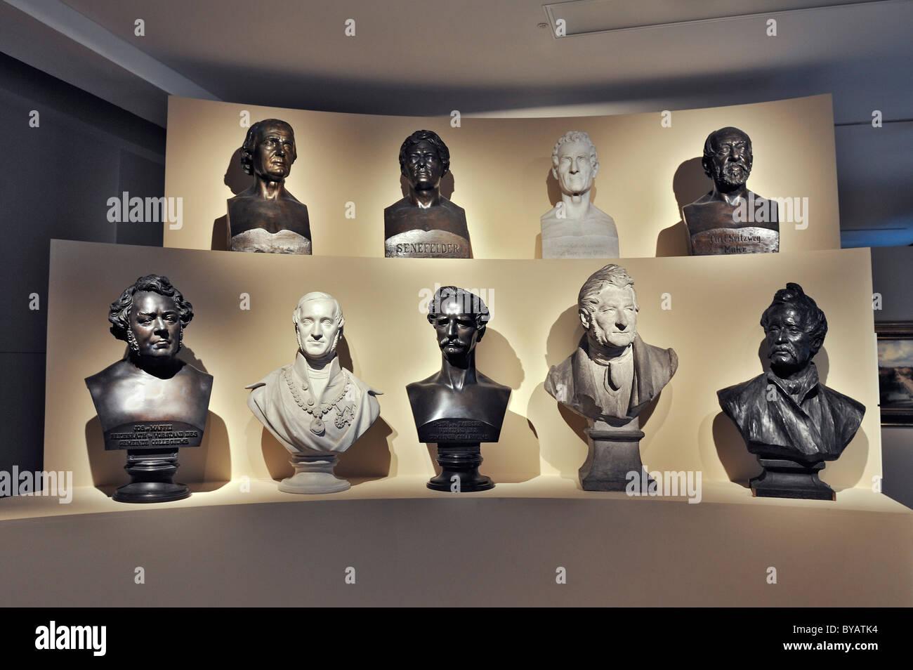 Busts of famous residents of Munich, Munich City Museum, Stadtmuseum, Munich, Bavaria, Germany, Europe - Stock Image