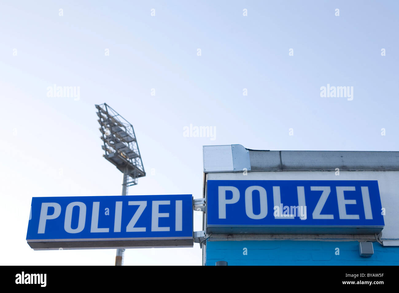 Police station at Millerntor Stadium, St. Pauli, Hamburg, Germany, Europe - Stock Image
