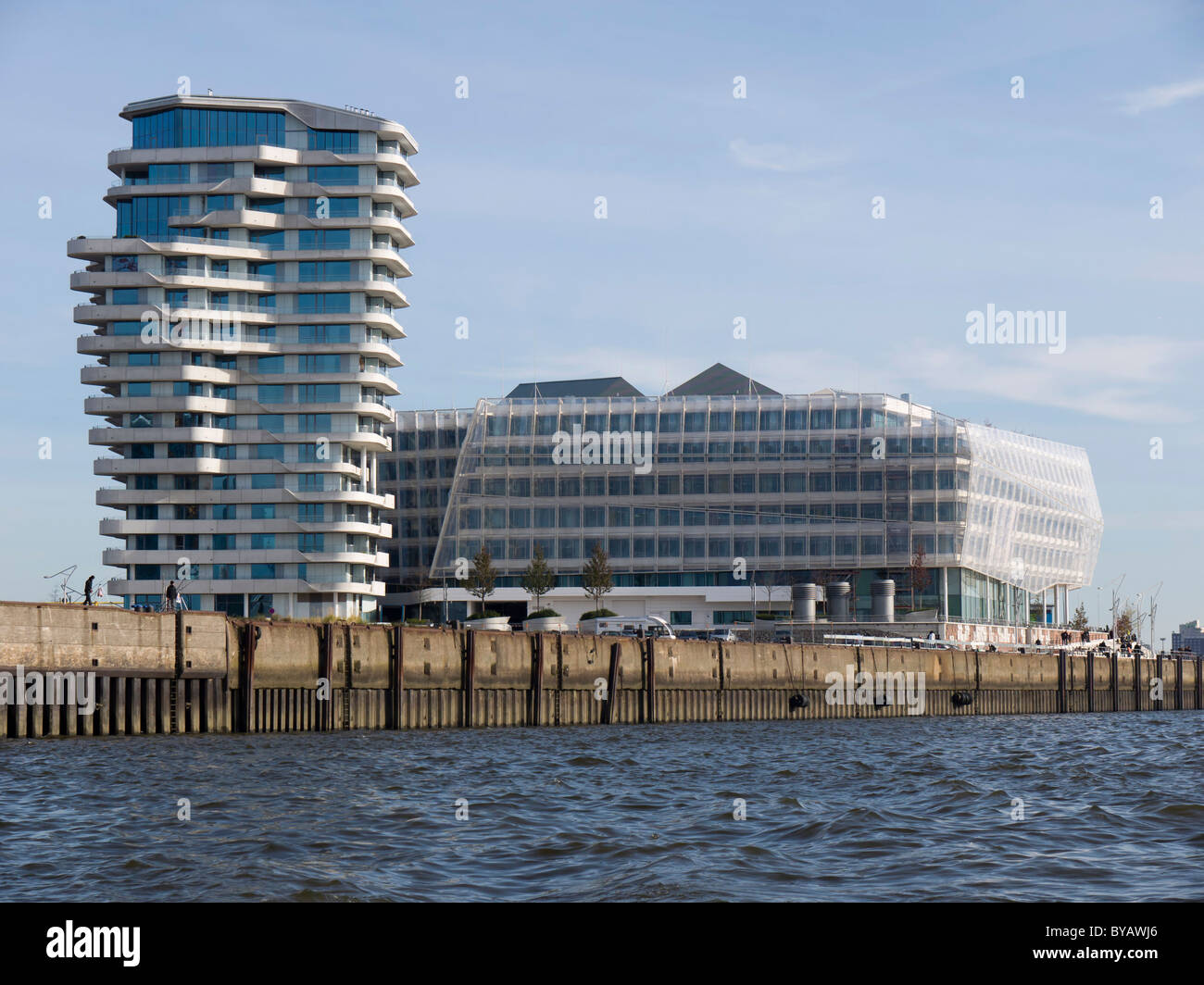 Marco-Polo-Tower and Unilever Zentrale headquarters, Strandkai, Hafencity district, Hanseatic City of Hamburg, Germany, - Stock Image