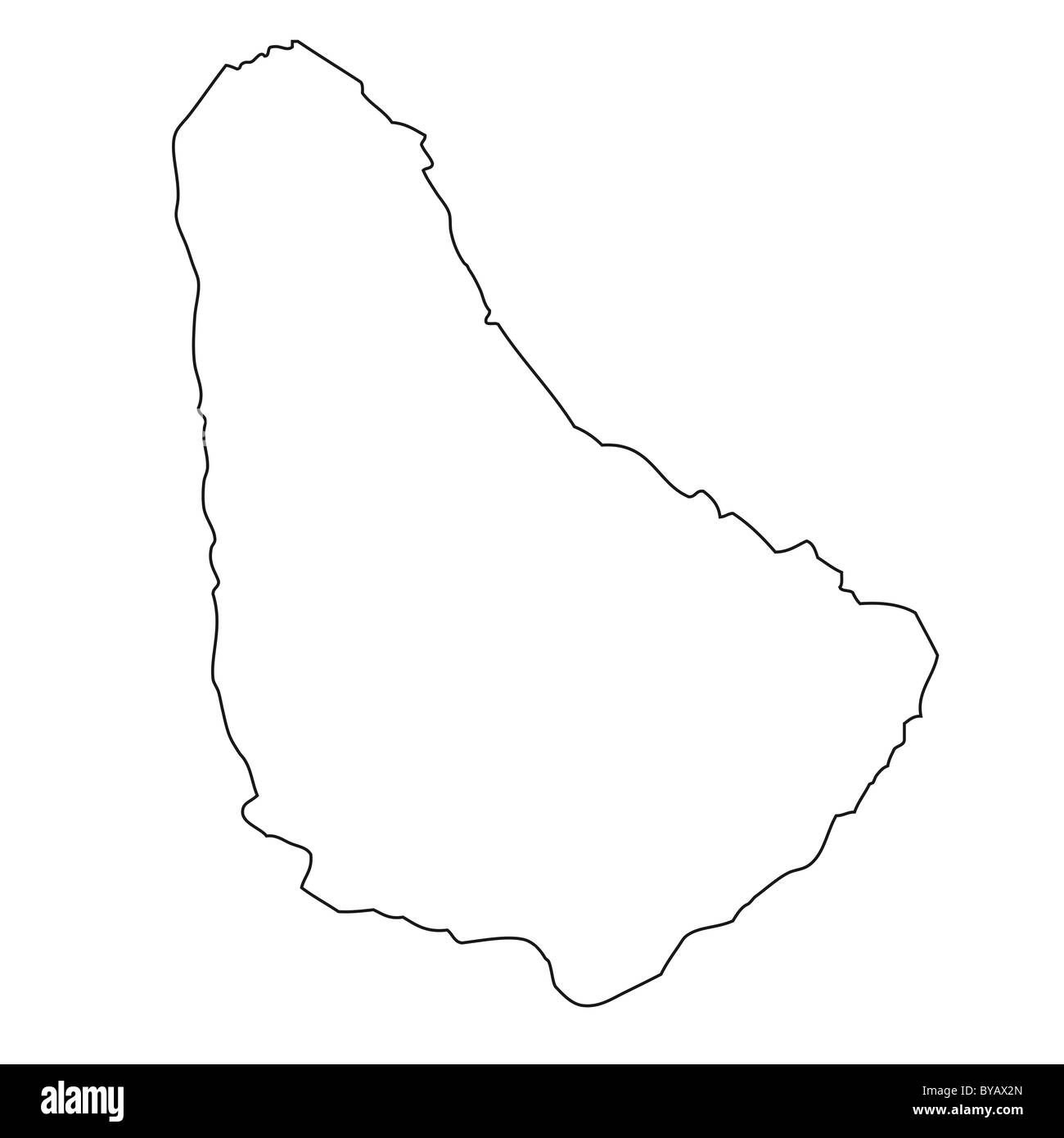 Outline, map of Barbados Stock Photo: 34046061 - Alamy