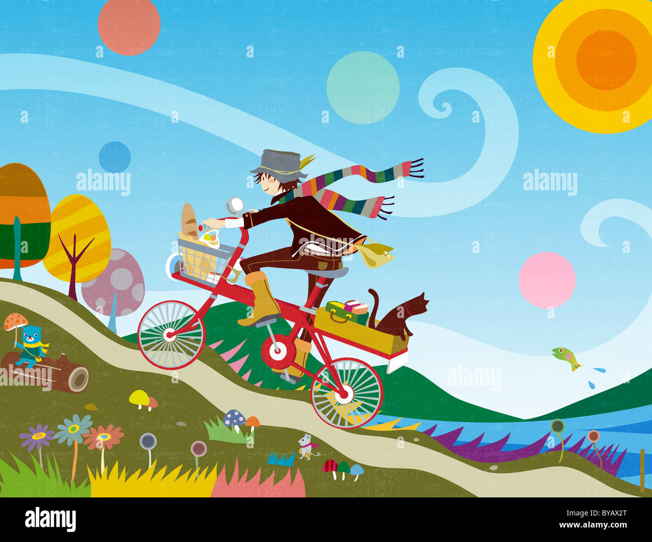 Illustration of a young woman riding a bicycle trough a fanciful scene - Stock Image