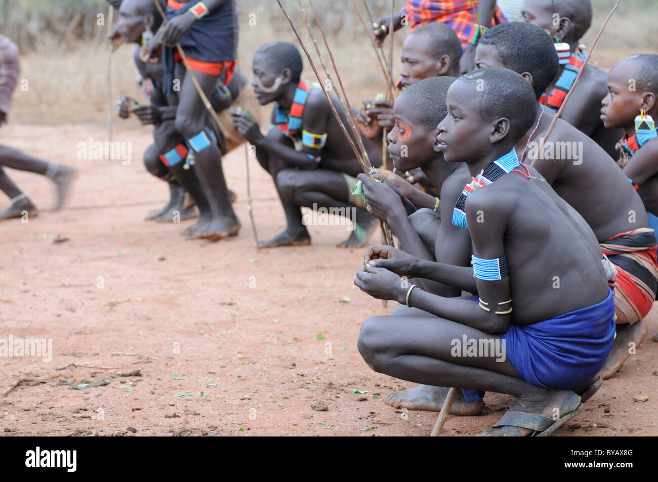 Young warriors from the Hamar tribe during their initiation rite, bull-leaping ceremony, southern Omo Valley, Ethiopia, - Stock Image