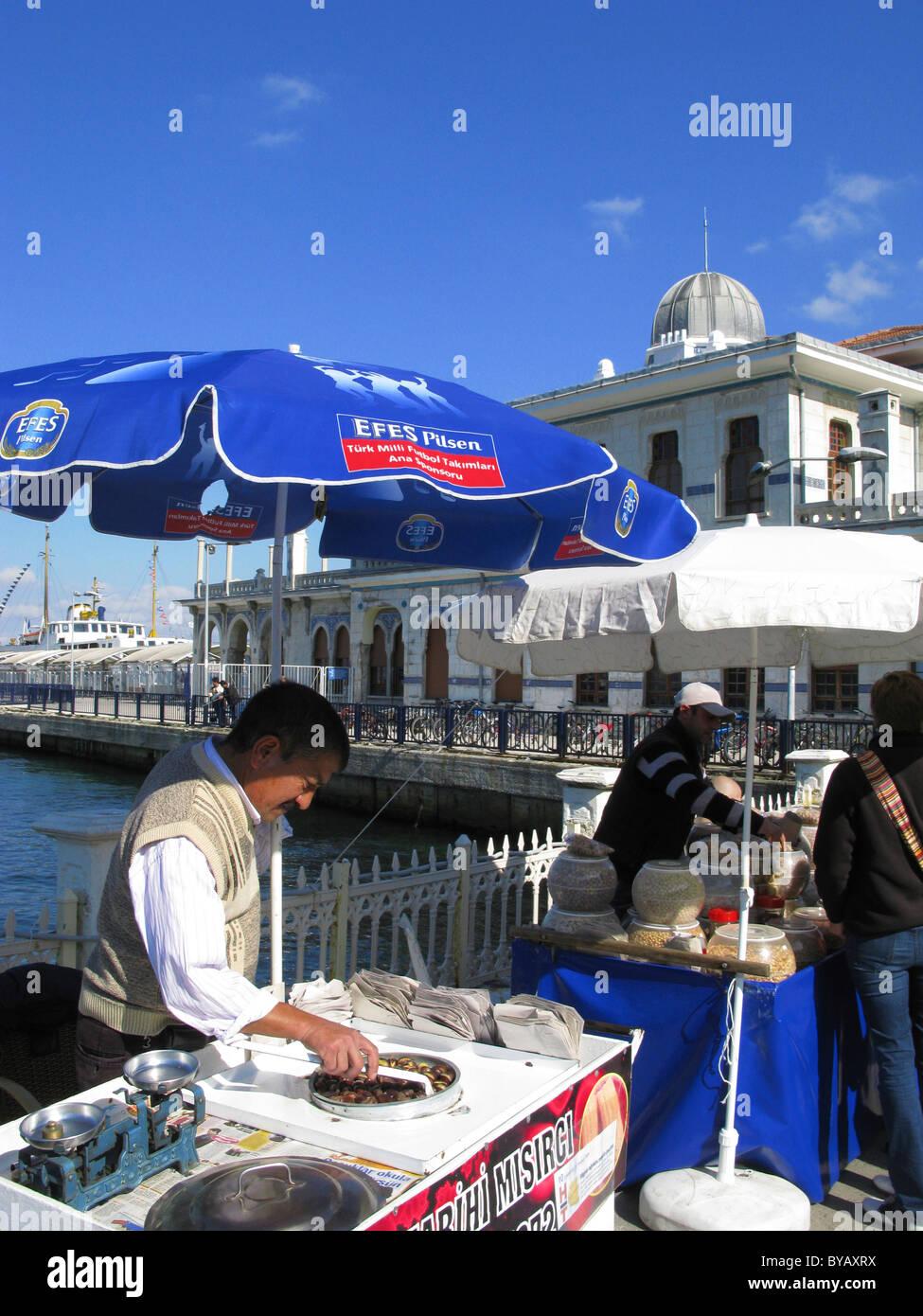 Harbourside Food Vendors, Ottoman Ferry Terminal, Princes Island of Buyukada, near Istanbul, Turkey - Stock Image