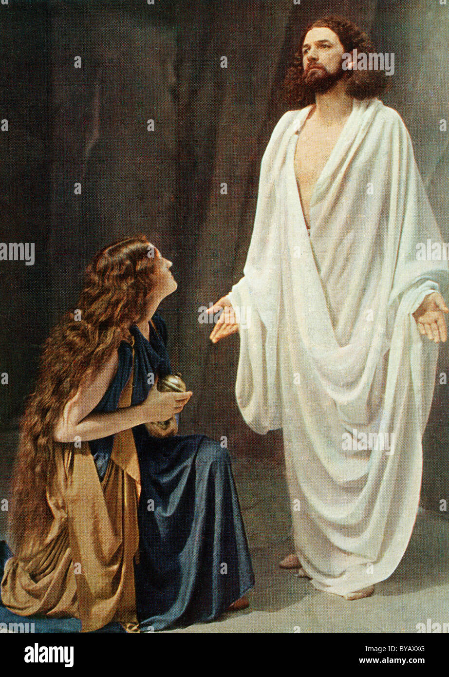 jesus and mary magdalene colour post card from a uvatypie