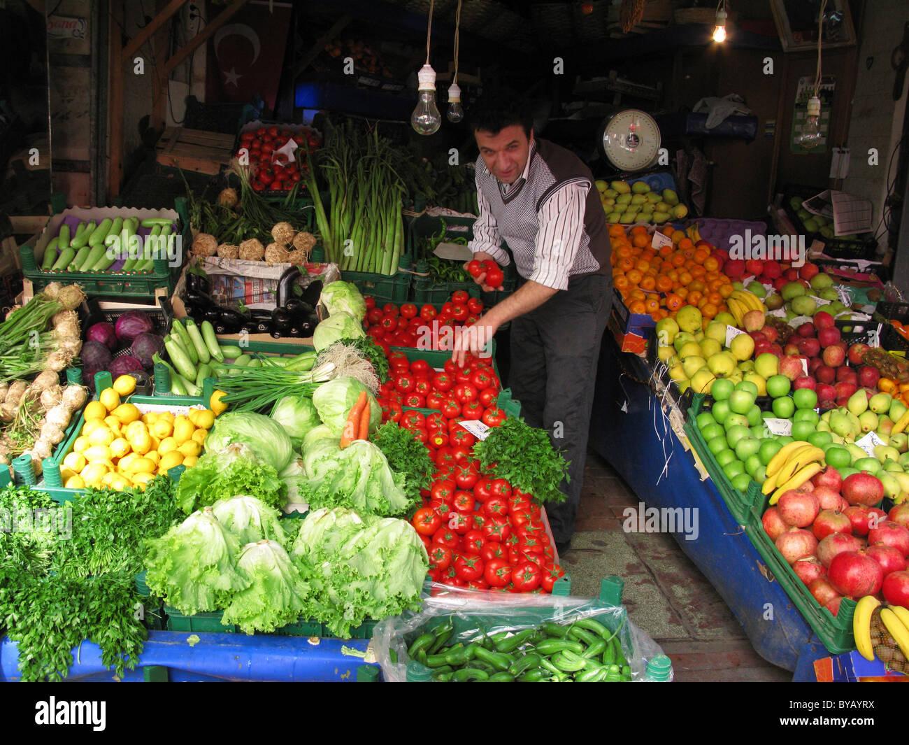 Greengrocers Shop, Princes Island of Buyukada, near Istanbul, Turkey - Stock Image