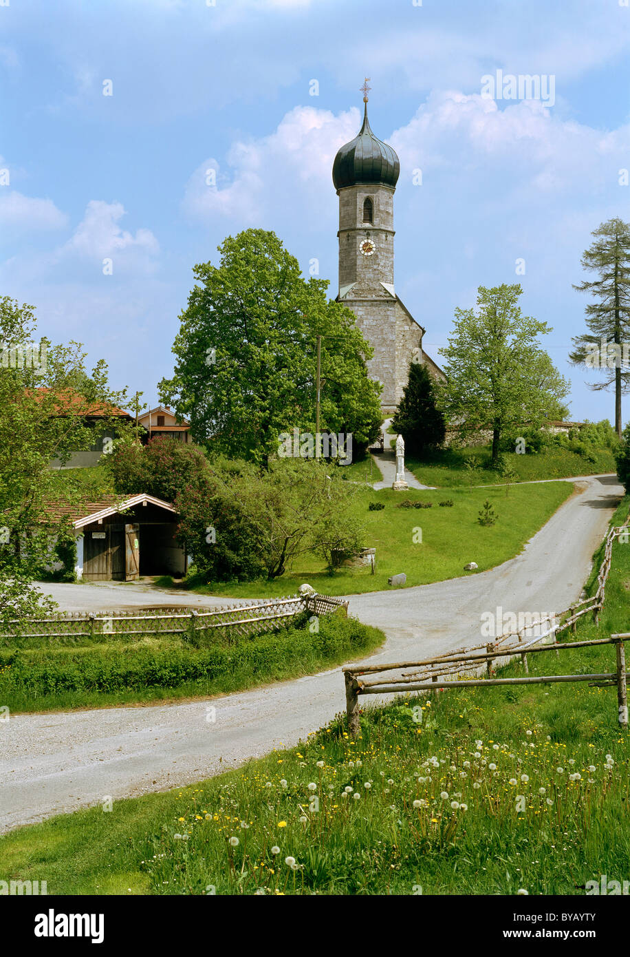 St. Magdalena Chapel of Ease, Lochen, Dietramszell, Upper Bavaria, Bavaria, Germany, Europe - Stock Image